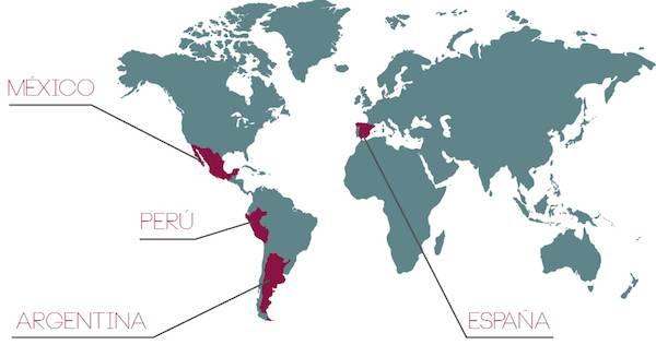 España, Mexico, Peru y Argentina